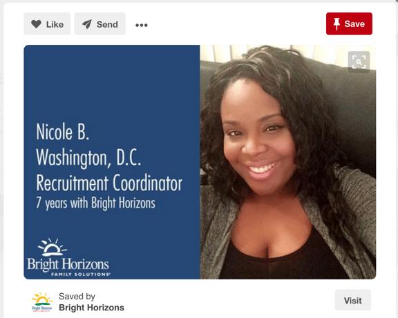 Exempel på Employer Branding med hjälp av Pinterest av företaget Bright Horizons