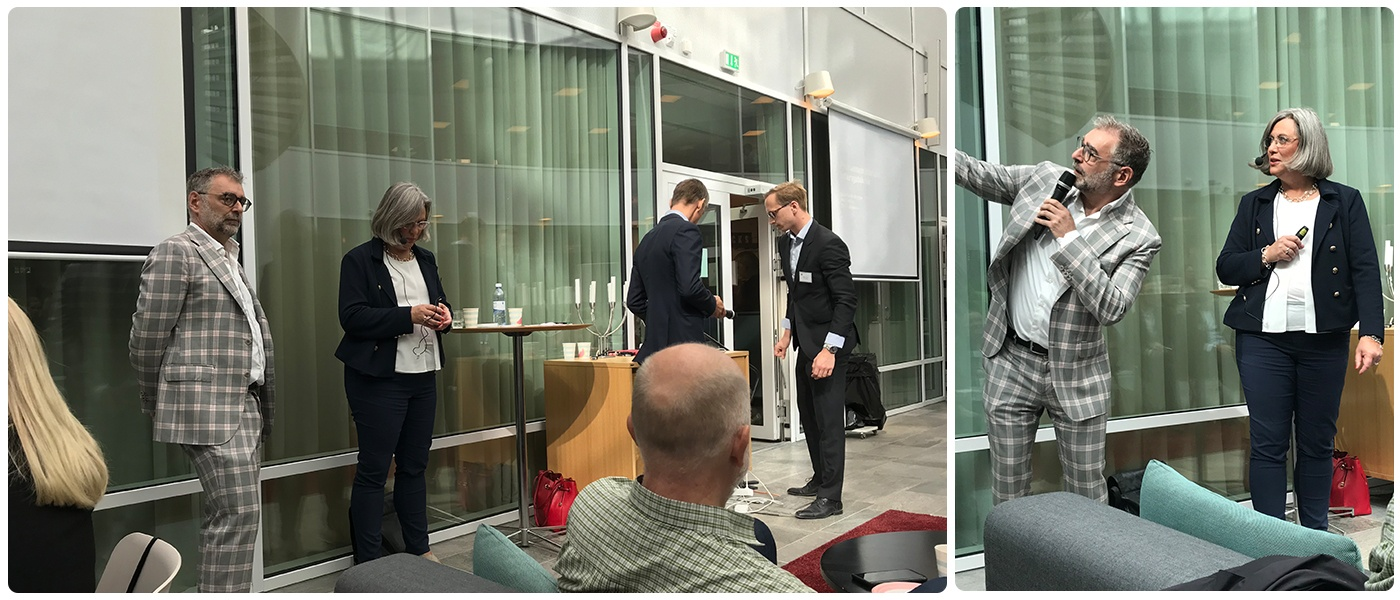 En bild av talarna Nils Hallén och Gunilla Andersson.